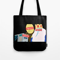 supreme Tote Bags featuring Supreme Time! by Miss K'Tahni