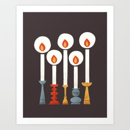 Festive Retro Candles Art Print