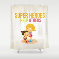 super heroes Shower Curtains featuring Super Heroes Help Others by youngmindz