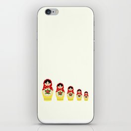Red russian matryoshka nesting dolls iPhone Skin