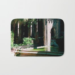 Barcelona Church Pond with Frog by photographer Larry Simpson Bath Mat