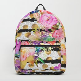 Elegant spring flowers and stripes design Backpack