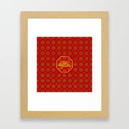 Golden Tortoise / Turtle Feng Shui on red Framed Art Print