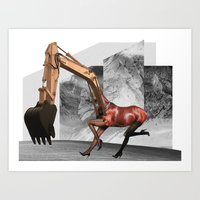 mustang Art Prints featuring Mustang by Lerson