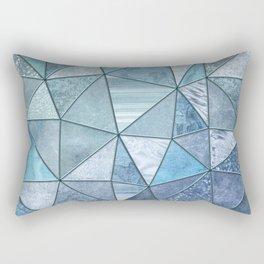 Blue Aqua Glamour Shiny Precious Patchwork Rectangular Pillow