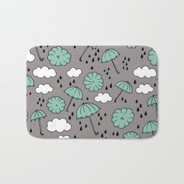 Blue umbrella sky rainy day abstract fall illustration pattern blue Bath Mat