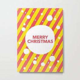 Merry Christmas Candy Cane Snow Stripes Metal Print