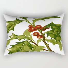Holly Christmas Red Berry Rectangular Pillow