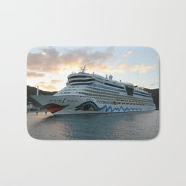AIDAluna Cruise Ship in Road Town on Tortola Bath Mat