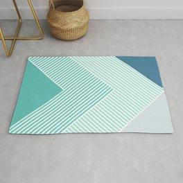 Teal Vibes - Geometric Triangle Stripes Rug