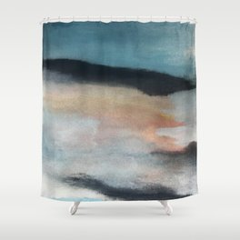 Dawn: a minimal abstract acrylic piece in pink, blues, yellow, and white Shower Curtain