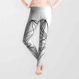 Geometric Crystal - Black and white geometric abstract design Leggings
