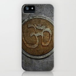 The sound of the Universe. Gold Ohm Sign On Stone iPhone Case