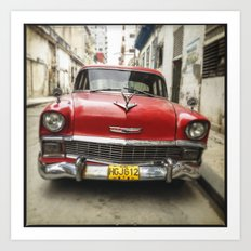Vintage Red American Car on the Streets of Havana. Art Print