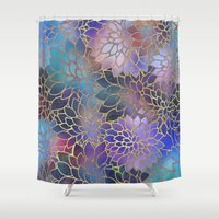 brad pitt Shower Curtains featuring Floral Abstract 5 by Klara Acel