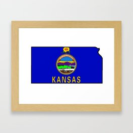 Kansas Map with Kansas State Flag Framed Art Print