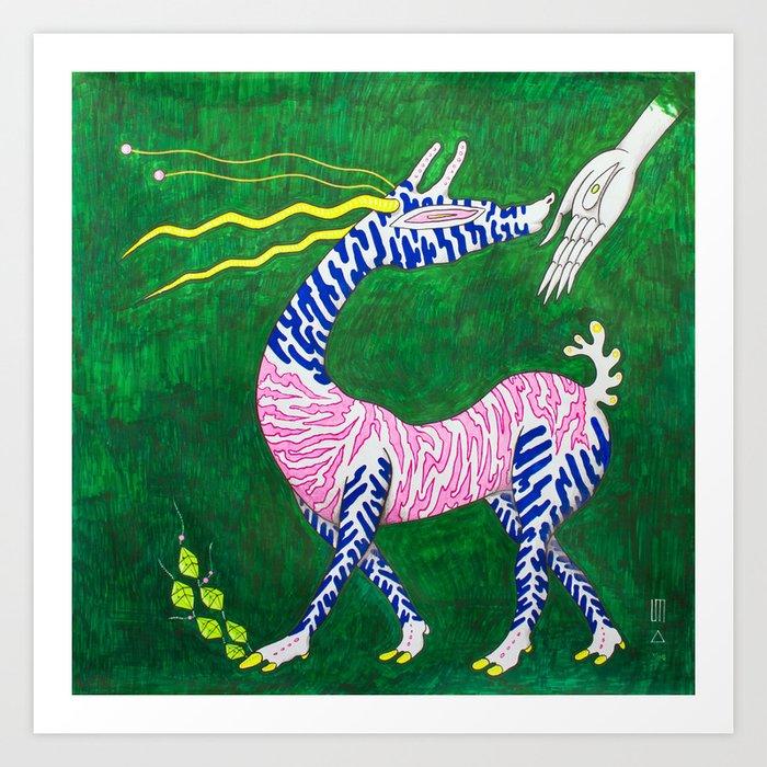 三 Decision (Antelope chooses different food in the Green Dimension) Art Print