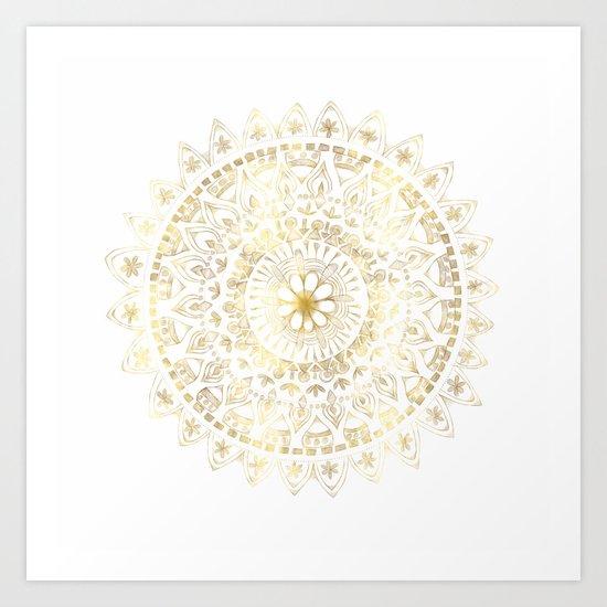 Gold Hand Drawn Mandala Art Print