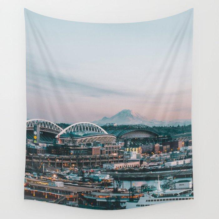 Seattle & Mount Rainier Wall Tapestry