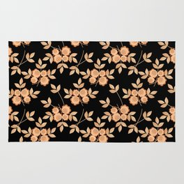Retro . Beige flowers on a black background . Rug