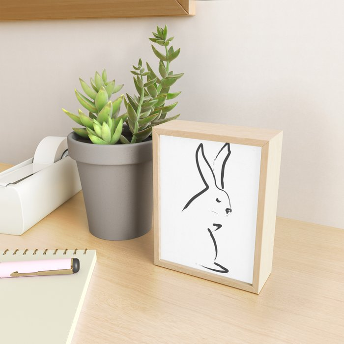 Zen Snow Bunny Framed Mini Art Print