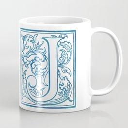 Letter J Elegant Antique Floral Letterpress Monogram Coffee Mug
