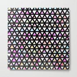 Neon and Black Rainbow Triangle Pattern Metal Print