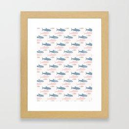 Pink and Blue Kids Cute Shark Silhouette Wave Framed Art Print