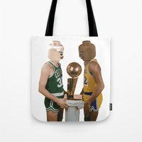 lakers Tote Bags featuring lego magic by tbdaniel15