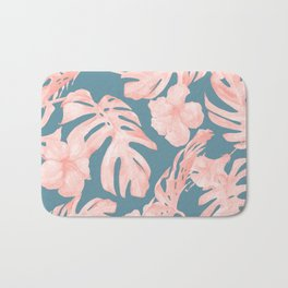 Tropical Palm Leaves and Hibiscus Pink Teal Blue Bath Mat