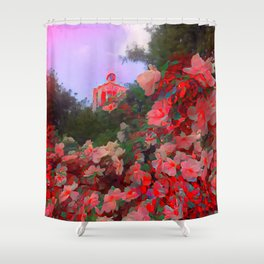 Red Visions of Leipzig Shower Curtain