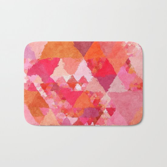 Into the heat - Pink and red watercolor Triangle pattern Bath Mat