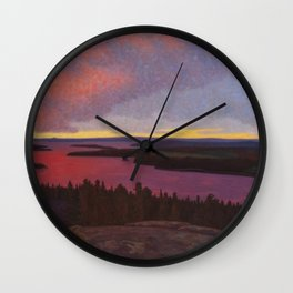 Mountaintop Landscape at Dawn by Hilding Werner Wall Clock