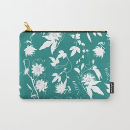 Passion Garden. Elegant Teal White Floral Pattern Carry-All Pouch