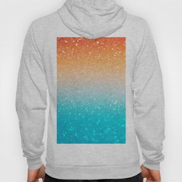 Glitter Teal Gold Coral Sparkle Ombre Hoody