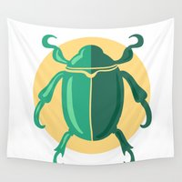 beetle Wall Tapestries featuring beetle by Cardinal Design