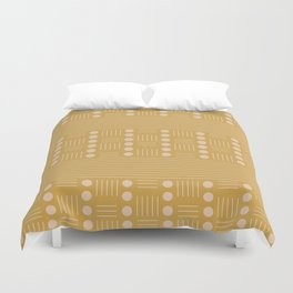 Lines and Circle in Mustard Duvet Cover