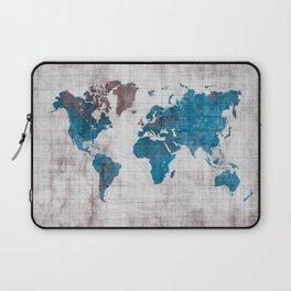 world map 96 blue #worldmap #map Laptop Sleeve