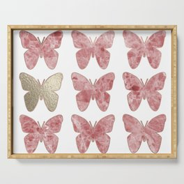 Golden rosy mauve butterflies Serving Tray