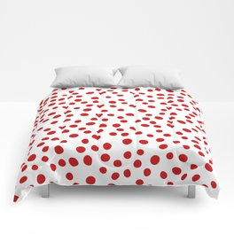 Red doodle dots Comforters