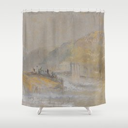 "J.M.W. Turner ""Foul by God - River Landscape with Anglers Fishing From a Weir"" Shower Curtain"