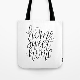 Home Sweet Home, Handlettered, Black and White, Farmhouse Tote Bag