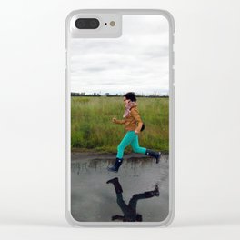 Girl floating above water Clear iPhone Case
