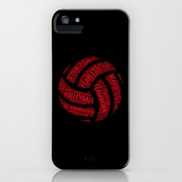 Red Volleyball Wordcloud - Gift iPhone Case