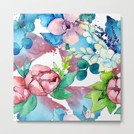 Floral Bouquet in Pastel Pinks and Blues Metal Print