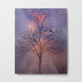 Winter's Tree At Dawn - Dark Crows Series Metal Print