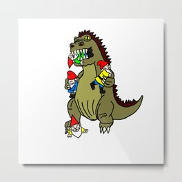 Gnome Eating Monster Metal Print