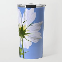 White Cosmos Flower Travel Mug