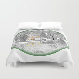 Round Barn Inn, Waitsfield, Vermont near Sugarbush- Zentangle illustration Duvet Cover