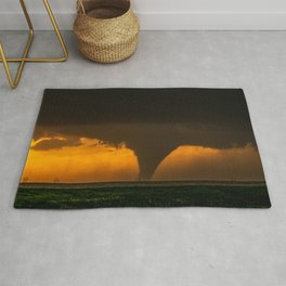 Silhouette - Large Tornado at Sunset in Kansas Rug